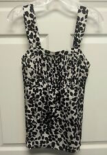 George Me Women Top Size S Side Zipper Black White Floral Design By Mark Eisen