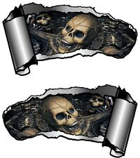 Small Pair Ripped Open Metal Rip GASH Gothic Evil Skull Inside Car Sticker Decal