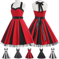 CLEARANCE! 40s 50's Vintage Retro Style Polka Dot Swing Pinup Party Prom Dress