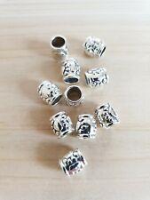 10 x Pfoten/Herz Metallperlen Schmuck Großloch Beads Spacer Basteln Deko Silber