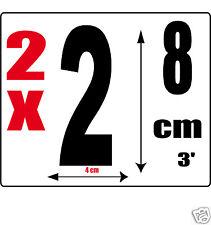 lot 2 Chiffres [2] Sticker autocollant noir hauteur 8cm Lettre en vinyle