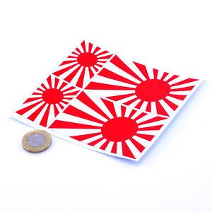 "Japanese Rising Sun Navy Style Flag 4x Stickers 3"" & 2"" JDM Stickers Honda etc"