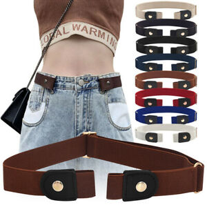Convenient Mens Women Buckleless Invisible Belt Elastic Jeans Comfort Waistband