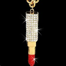 HUGE Micro Pave Set RUBY RED Cz Crystal LIPSTICK BOSS Chain STATEMENT Necklace