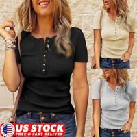 Womens Summer Button V-Neck Tops Short Sleeve Slim Fit T Shirt Blouse Basic Tee