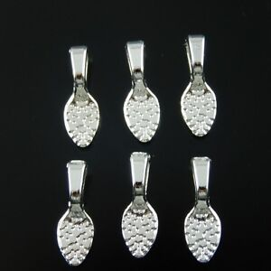 33631 Silver Tone Alloy Glue on Bail Jewelry Findings Crafts 15*5*2mm 60pcs