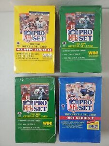 Lot of 4 Unopened 1990 1991 Pro Set Football Series 1 & 2 Factory Sealed Boxes!!