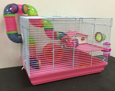 Pink 2-Floors Syrian Hamster Rodent Gerbil Mouse Mice Habitat Cage