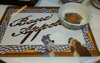 NEW! Disney Parks Lady and the Tramp Pet Food Bowl & Feeding Mat Set