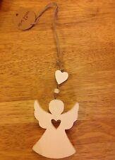 Hanging Christmas Angel - wood, white, cream, heart, rustic Bnwt