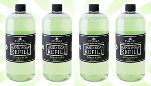4 ESSENZA Premium Hand Soap Refill Citrus Basil 33.8 OZ