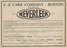 Z0432 Tessuti per Capote dell'auto Neverleek - Pubblicità del 1927 - Advertising