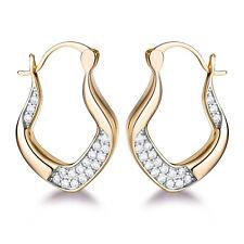 Twist Ribbon Silver & Gold Filled Clear Crystal Sapphire Women Hoop Earrings BOX