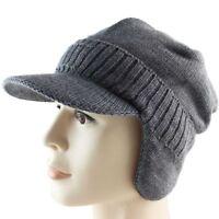 Men Warm Winter Cap Ear Cover Warm Biking Driving Windproof Hat Peaked Beanie