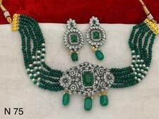 South Indian Kundan Green Onyx CZ Necklace Earrings Set Women Fashion Jewelry