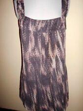 KOOKAI silk TOP size 38 / 8-10 S grape &print tunic sleeveless work casual club