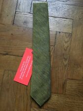 BN Richard James Savile Row London Yellow & Blue Weave Print Silk Linen Tie