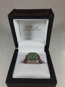 Daniel Steiger Mens Ring Green Stones 925 sz 11
