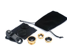 3 in 1 Camera Set Fish Eye Wide Angle Macro Lens +Clip For Samsung iPhone Gold