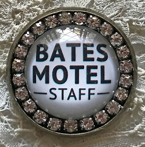 BATES MOTEL STAFF Handmade Glass Rhinestone BROOCH Lapel Scatter Pin Halloween