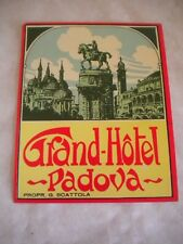 Vintage Luggage label Grand Hotel Padova 1950s