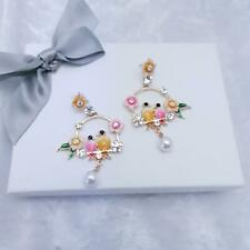 French Enamel Flower yellow Bird Hoop Pearl Earrings, Pretty Chic & Gift Box