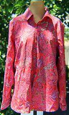 Women's Blouse Size 14, Land's End, Red Azalea Floral