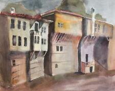 Impressionism Vintage watercolor painting landscape cityscape
