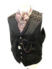 Steampunk Ensemble Raven GothicBlack Waist Coat Cravat Compass Size XXL