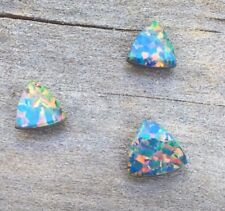 3 PC TRILLION CUT SYNTHETIC DOUBLET OPAL 5/6/8MM WITH NATURAL BOULDER OPAL BACK
