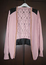 MB21 Collection New Ladies Leather Look, Lace & Chain Detail Cardigan Size 10