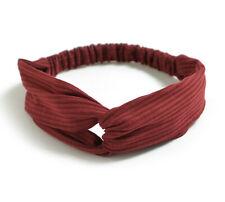Fascia per capelli elastica donna nodo elegante rosso bordeaux