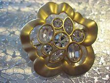 Vintage Swan Signed Swarovski brushed gold and crystal flower Brooch 058