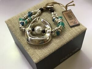 """NWT Uno de 50 Silver-plated Bracelet/Blue & Green Crystals/Faux Pearl """"Dune"""""""
