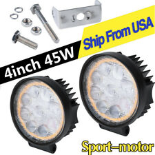 2X Amber White 4inch 45W LED Work Light Pods Offroad Truck ATV 4X4WD Backup Lamp