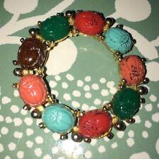 Vintage Gold Tone Scarab Circle Pin
