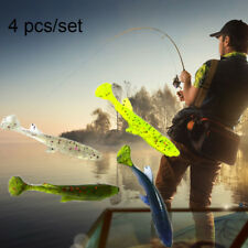 New 4pcs Tackle Hook Swim Bait Soft Sinking Fishing Lures 7cm/5.5g Silicone