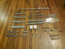 Lot of 31 Vintage Car Truck Emblems CHEVY C10 FORD F100 CADILLAC OLDSMOBILE ETC.