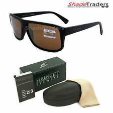 SERENGETI CLAUDIO SUNGLASSES SATIN BLACK POLARIZED DRIVERS GOLD MIRROR 8434