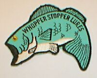 Vintage NOS Whopper Stopper Lures Figural Bass Embroidered Fishing Patch Unused