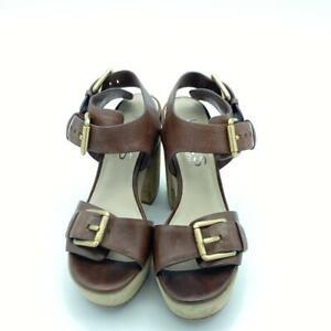 Michael Kors brown leather block-heel buckle sandal Size 6 1/2 M