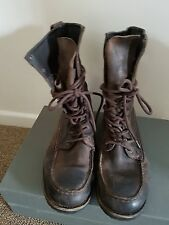 TAN BROWN LEATHER LACE UP CALF MILITARY STYLE COMBAT MEN'S BOOTS,SIZEUK 7.5/EU41