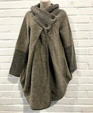 Made In Italy Long Wool Knit Poncho (One Size) Winter - Beige Mix