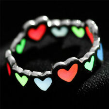 Luminous Love Heart Ring Glow In The Dark Adjustable Ring Open Finger Ring P&T