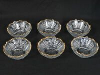 Small Clear Glass Bowls with Grapes and Leaves Design and gold trim (set of 6)