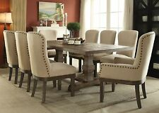 NEW RUSTICA 7PC TRANSITIONAL SALVAGED BROWN FINISH WOOD LINEN DINING TABLE SET