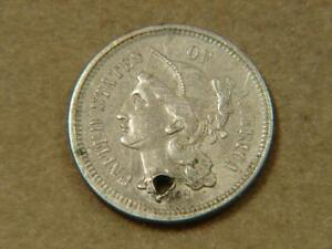1868 Nickel 3 Cent Piece Coin W/Hole Punched
