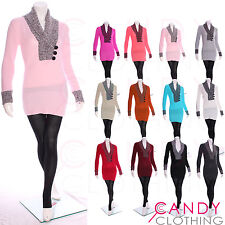 Ladies Jumper Dress Knitwear V Neck Long Knit Top Tunic Plus Size 8 10 12 14 16