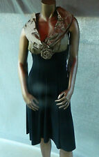 JOSEPH RIBKOFF BLACK & GOLD GORED COCKTAIL DRESS, PARTY DRESS - SIZE 6