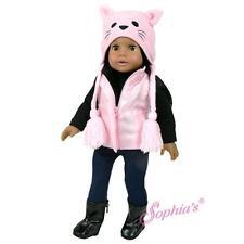 """Pink Fleece Kitty Hat fit 18"""" American Girl Doll winter warm cat kat"""